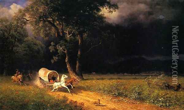 The Ambush Oil Painting - Albert Bierstadt