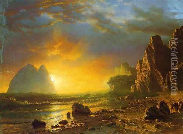 Sunset On The Coast Oil Painting - Albert Bierstadt