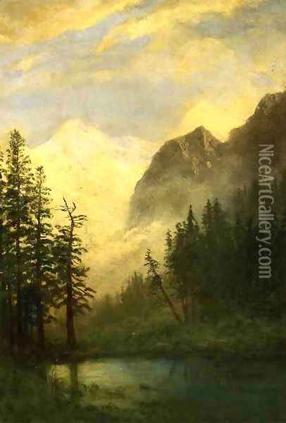 Moonlit Landscape Oil Painting - Albert Bierstadt