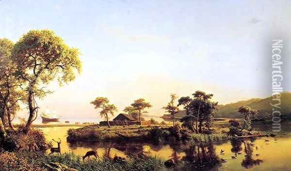 Gosnold At Cuttyhunk 1602 Oil Painting - Albert Bierstadt