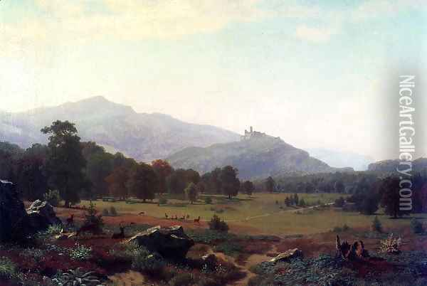 Autumn in the Conway Meadows Looking towards Mount Washington, New Hampshire Oil Painting - Albert Bierstadt