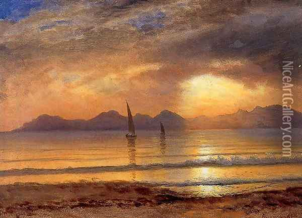 Sunset Over A Mountain Lake2 Oil Painting - Albert Bierstadt