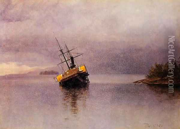 Wreck Of The Ancon In Loring Bay Alaska Oil Painting - Albert Bierstadt