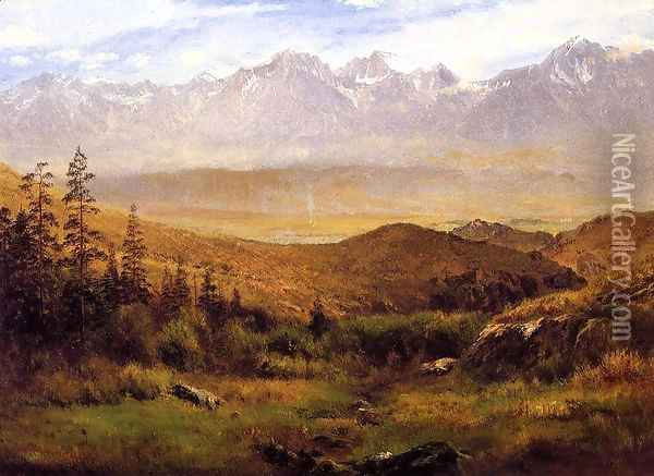 In The Foothills Of The Mountais Oil Painting - Albert Bierstadt