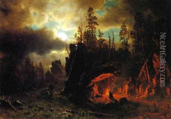The Trappers' Camp 1861 Oil Painting - Albert Bierstadt