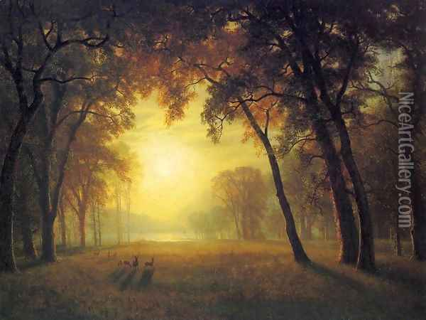 Deer in a Clearing Oil Painting - Albert Bierstadt