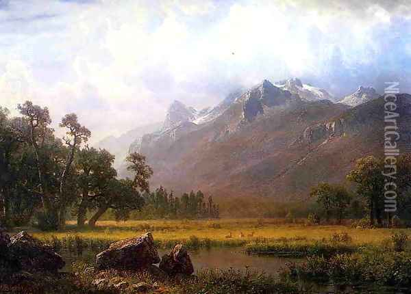 The Sierras Near Lake Tahoe California Oil Painting - Albert Bierstadt