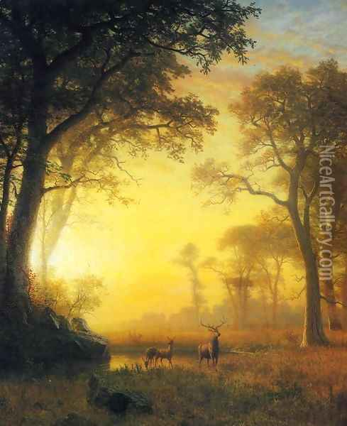 Light in the Forest Oil Painting - Albert Bierstadt