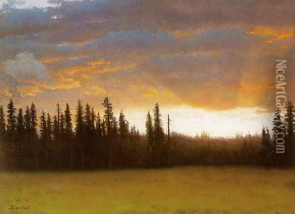 California Sunset (2) Oil Painting - Albert Bierstadt
