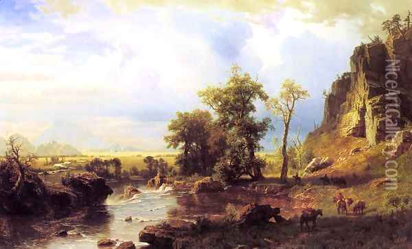 North Fork Of The Platte Nebraska Oil Painting - Albert Bierstadt