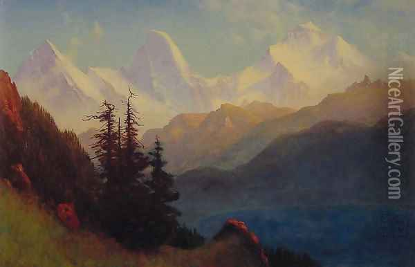 Splendour Of The Grand Tetons Oil Painting - Albert Bierstadt