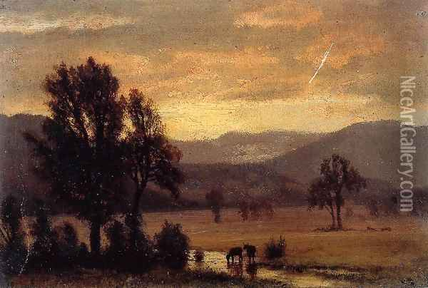 Landscape With Cattle Oil Painting - Albert Bierstadt