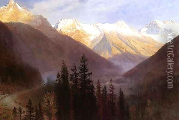 Sunrise At Glacier Station Oil Painting - Albert Bierstadt