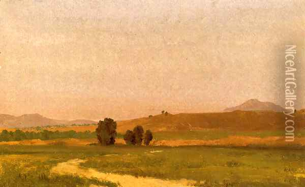 Nebraska, On the Plains Oil Painting - Albert Bierstadt