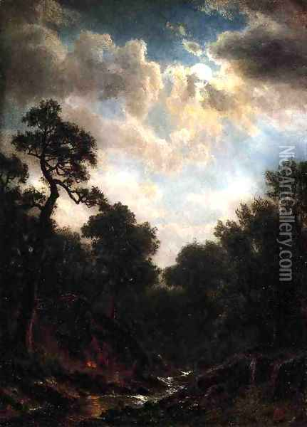 Moonlit Landscape2 Oil Painting - Albert Bierstadt