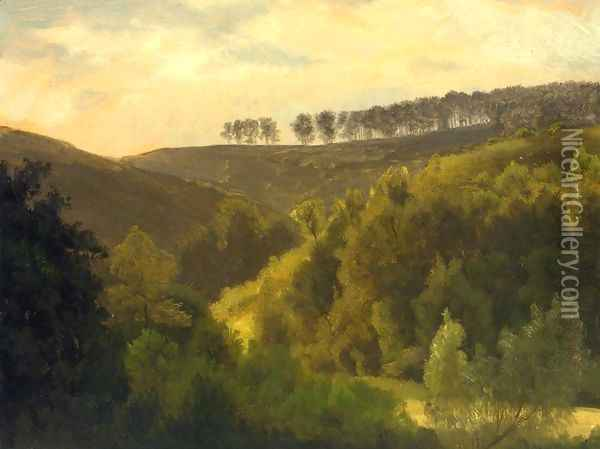 Sunrise Over Forest And Grove Oil Painting - Albert Bierstadt