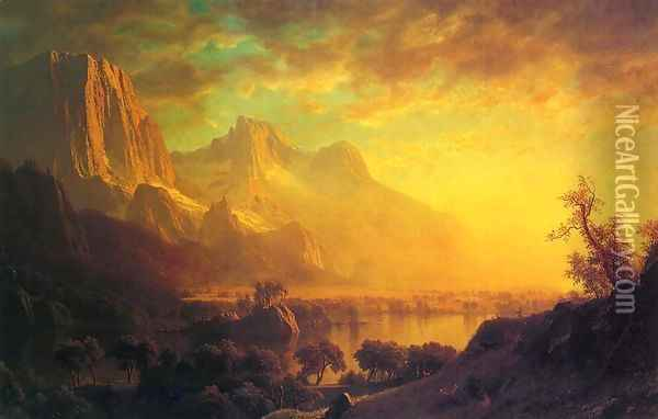 Wind River, Wyoming Oil Painting - Albert Bierstadt