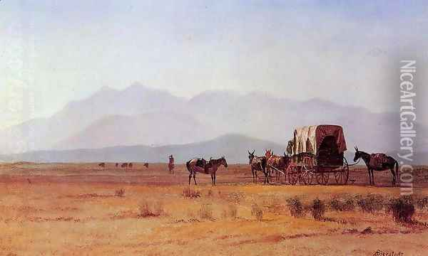 Surveyor's Wagon in the Rockies Oil Painting - Albert Bierstadt