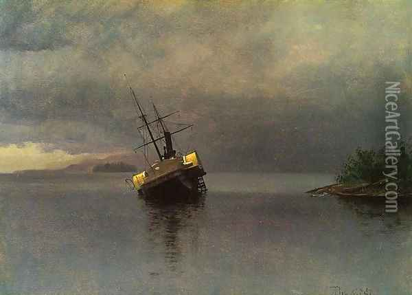 Ship sailing to the storm Oil Painting - Albert Bierstadt