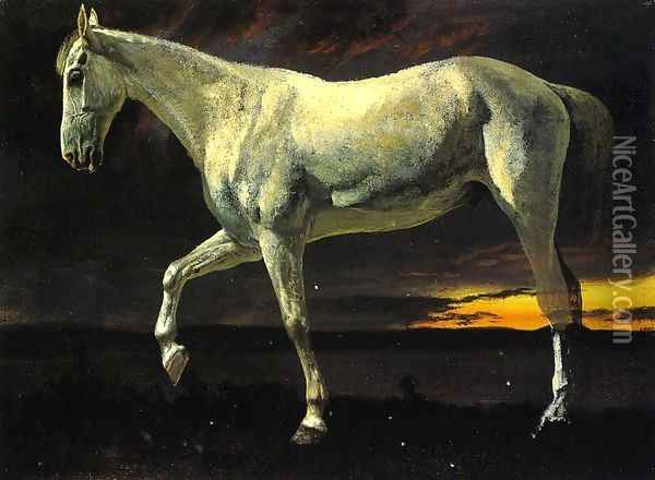White Horse and Sunset Oil Painting - Albert Bierstadt