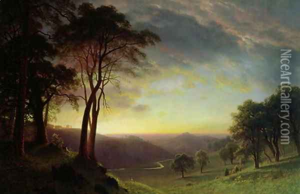 The Sacramento River Valley Oil Painting - Albert Bierstadt