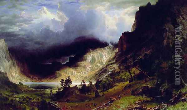 Storm in the Rocky Mountains, Mt. Rosalie, published 1869 Oil Painting - Albert Bierstadt