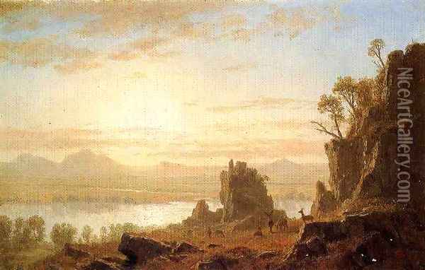 The Columbia River, Oregon Oil Painting - Albert Bierstadt