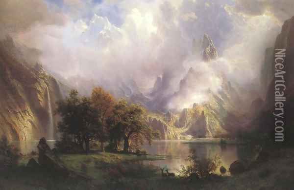 Rocky Mountain Landscape 1870 Oil Painting - Albert Bierstadt