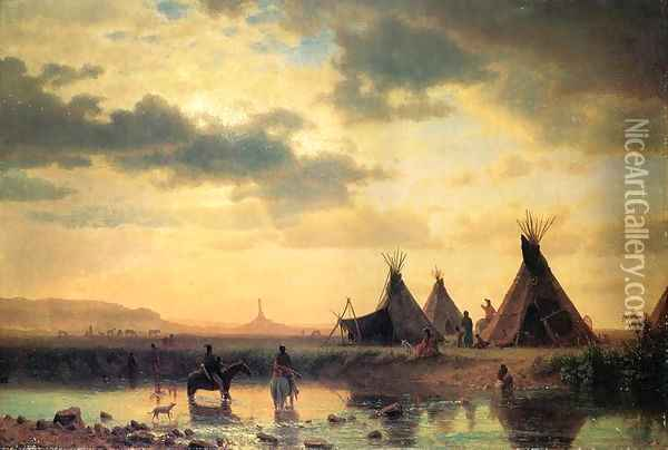 View of Chimney Rock, Ogalillalh Sioux Village in Foreground Oil Painting - Albert Bierstadt