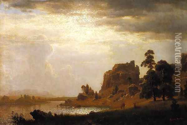 On the Sweetwater near the Devil's Gate Oil Painting - Albert Bierstadt