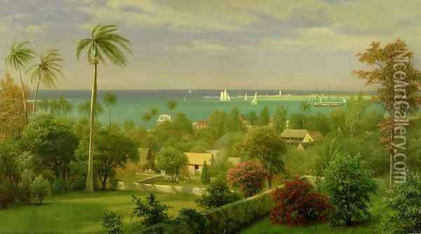 Panoramic View of the Harbour at Nassau in the Bahamas Oil Painting - Albert Bierstadt