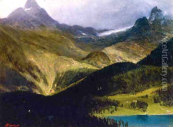 Mountain Landscape II Oil Painting - Albert Bierstadt