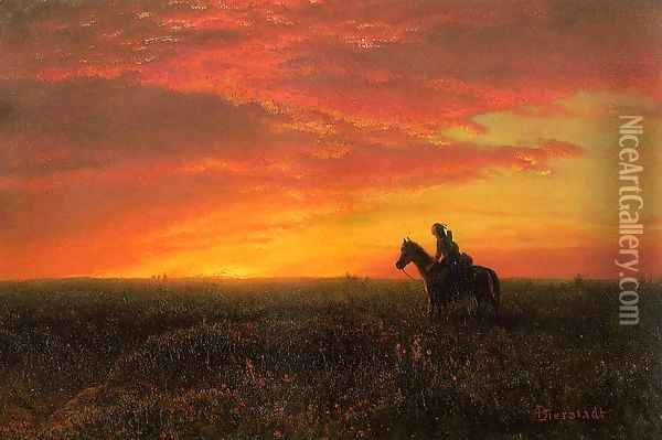 On the Plains, Sunset Oil Painting - Albert Bierstadt