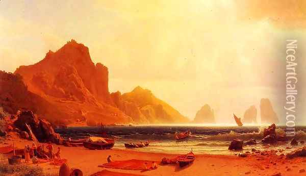 The Marina Piccdola, Capri Oil Painting - Albert Bierstadt
