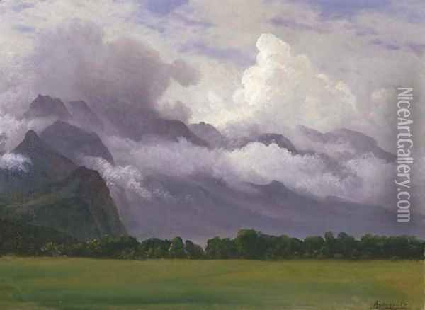 Clouds in Owens Valley Oil Painting - Albert Bierstadt