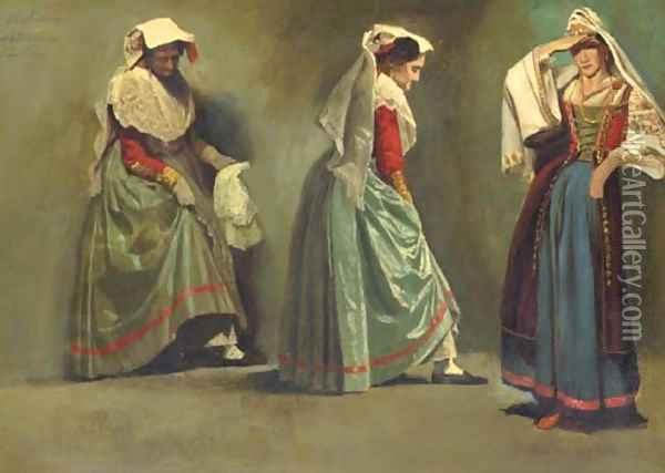 Italian Costume Studies Oil Painting - Albert Bierstadt