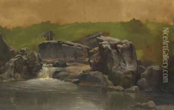 Rocks and Stream, Westphalia, Germany Oil Painting - Albert Bierstadt