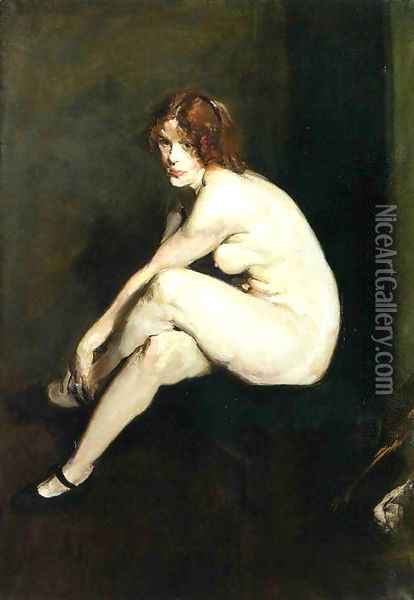 Nude Girl Miss Leslie Hall Oil Painting - George Wesley Bellows