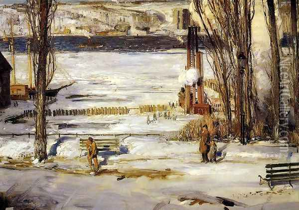 A Morning Snow Oil Painting - George Wesley Bellows