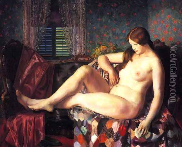 Nude With Hexagonal Quilt Oil Painting - George Wesley Bellows