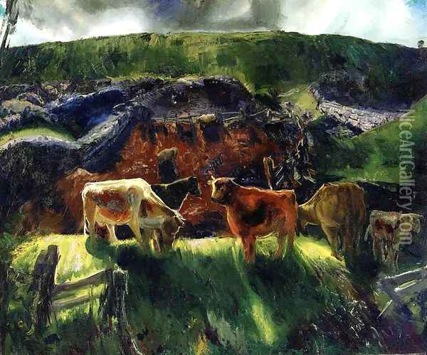 Cattle And Pig Pen Oil Painting - George Wesley Bellows