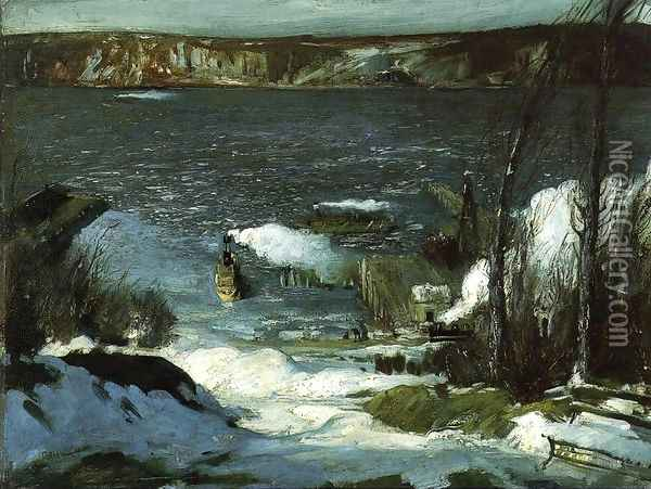 North River Oil Painting - George Wesley Bellows
