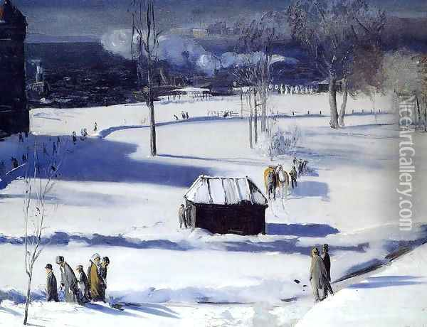 Blue Snow The Battery Oil Painting - George Wesley Bellows