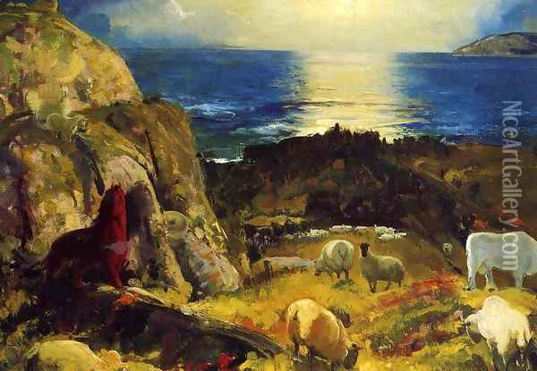Criehaven Large Oil Painting - George Wesley Bellows