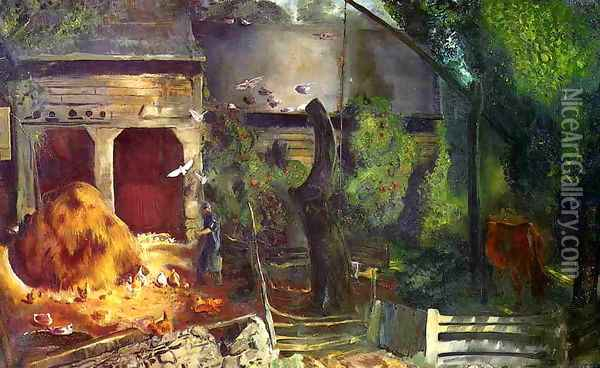Old Farmyard Toodleums Oil Painting - George Wesley Bellows