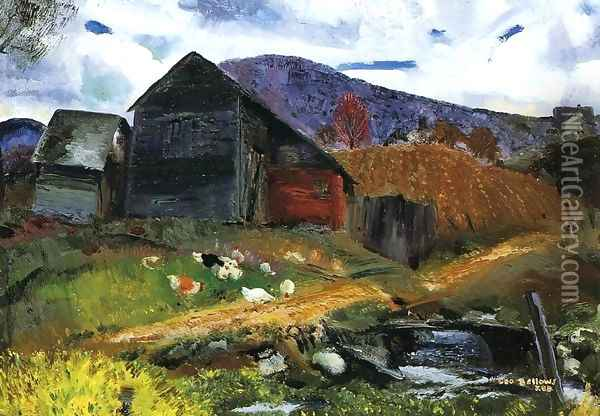 Old Barn In Shady Valley Oil Painting - George Wesley Bellows
