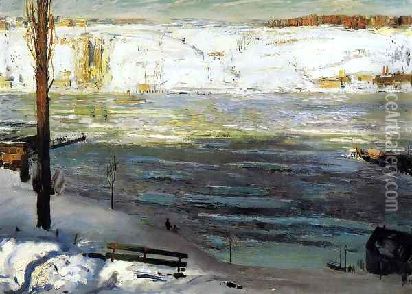 Floating Ice Oil Painting - George Wesley Bellows