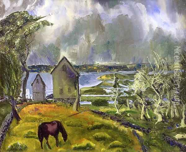 Old Orchard Newport Rhode Island Oil Painting - George Wesley Bellows