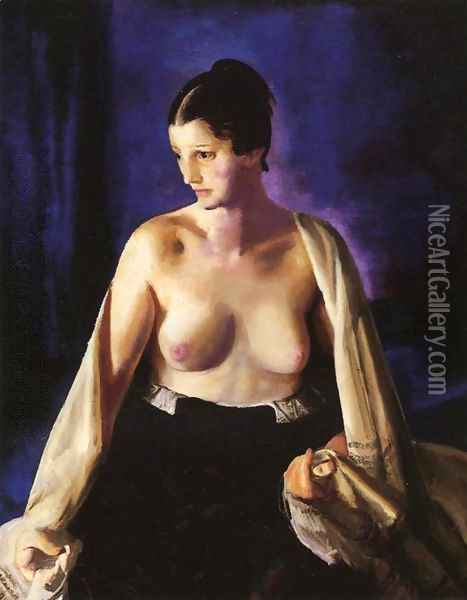Nude With White Shawl Oil Painting - George Wesley Bellows