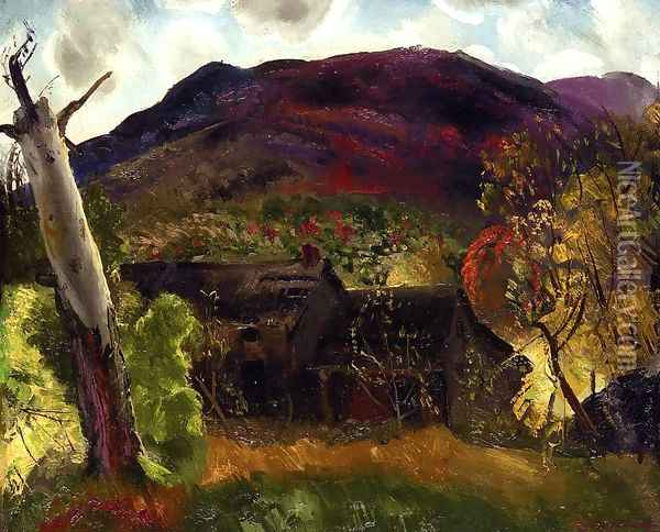Blasted Tree And Deserted House Oil Painting - George Wesley Bellows